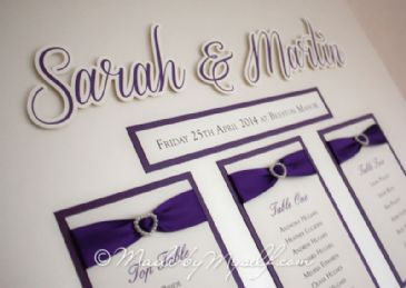 Ribbon Heart Table Plan with 3D bride and groom names